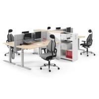 4er Arbeitsplatz elektromotorisch, Akustikpanel und Orgacontainer zur Abtrennung, Duo Back Bürodrehstühle