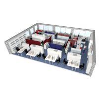 Büromöbelplanung 3D, Einzel- und Doppelarbeitsplätze, Stehbereiche