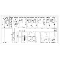 Grundriss einer Büroplanung,  Schreibtische, Empfang und Besprechungsraum