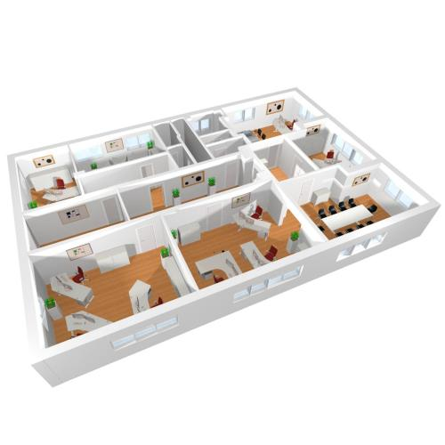 3D Büromöbelplanung mit diversen Arbeitsplätzen