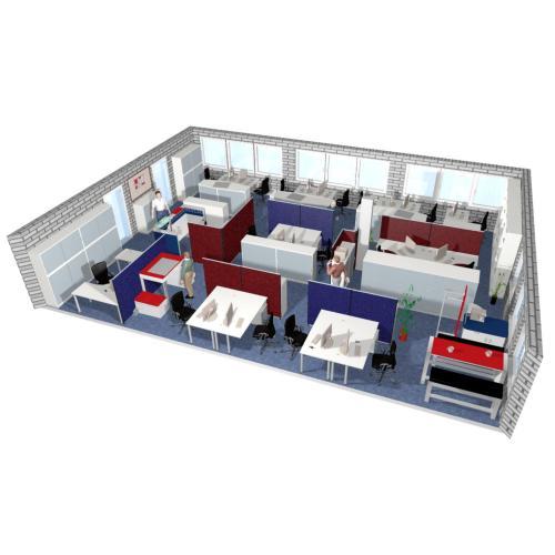 Büroplanung , Doppelarbeitsplätze mit Akustikpanels