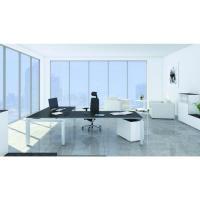 Schreibtisch Chefzimmer, Winkelkombination, Platte schwarz mit Alugestell