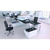 Chefzimmerschreibtisch mit Aluminiumgestell, Kombination aus schwarz, weiß und Alugestell